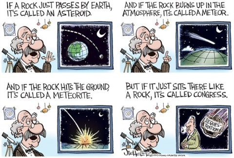 Joe Heller - Green Bay Press-Gazette - Asteroids and Meteors - English - Asteroids and Meteors,meteorite,sequestration,congress, sequester