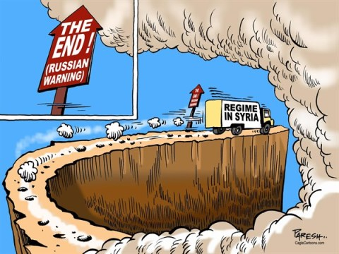 Paresh Nath - The Khaleej Times, UAE - Russian warning COLOR - English - Russia, syrian regime, cliff, End game,chaos, Assad regime