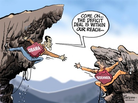 Paresh Nath - The Khaleej Times, UAE - US Cliff Talks COLOR - English - USA Economy, fiscal cliff, deficit deal, Obama, Boehner, Congress, Speaker, Democrats, GOP, gulf, standoff, cliffhangers