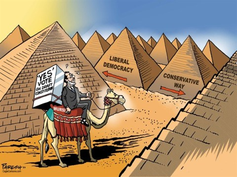 Paresh Nath - The Khaleej Times, UAE - Mursi's choice - English - Mursi, Egypt, pyramids, yes vote, referendum, draft constitution, liberal democracy, conservative way,islamists,seculars