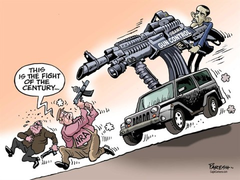 Paresh Nath - The Khaleej Times, UAE - Obama gun control COLOR - English - Obama, President of USA, Gun control proposals, Gun lobby, NRA, Rifles, fight of century, gun debate