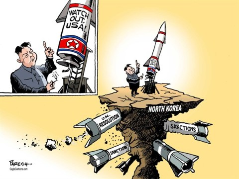 Paresh Nath - The Khaleej Times, UAE - N.Korean rocket COLOR - English - 		North Korea,rocket threat,Watch out USA,UN resolution,sanctions,Kim Jong-un,noclear weapon,plutonium,uranium