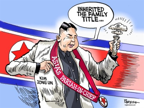 Paresh Nath - The Khaleej Times, UAE - Kim's family title COLOR - English - North Korea, Kim Jong un, China, nuclear test, missiles, family title, Asias pariah in chief, pariah state