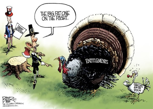 Nate Beeler - The Columbus Dispatch - Turkey and Taxes COLOR - English - thanksgiving, turkey, barack obama, uncle sam, debt, deficit, reduction, cuts, tax, taxes, rich, entitlements, holiday, social security, medicare, politics, pilgrim, fiscal cliff, government
