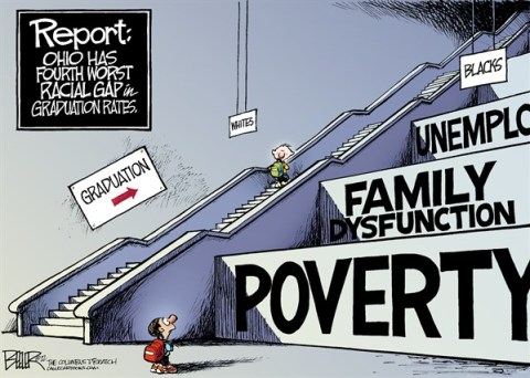 Nate Beeler - The Columbus Dispatch - LOCAL OH - Race and Graduation Rates COLOR - English - black, white, students, kids, children, education, schools, graduation, rate, race, racial, gap, ohio, disparity, poverty, family, dysfunction, unemployment, jobs, class
