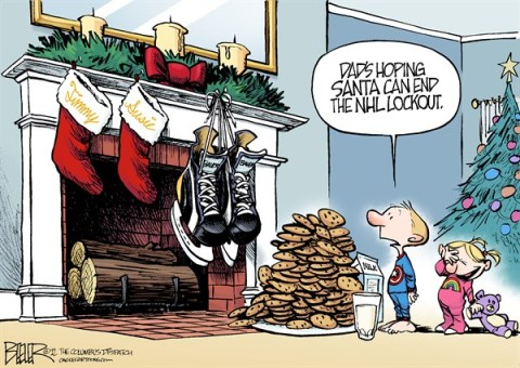 Nate Beeler - The Columbus Dispatch - A Very Hockey Christmas COLOR - English - nhl, lockout, santa, christmas, holiday, ice, hockey, nhlpa, national hockey league, sports, blue jackets, columbus, ice skates, cookies, milk, stockings, kids, children, fans
