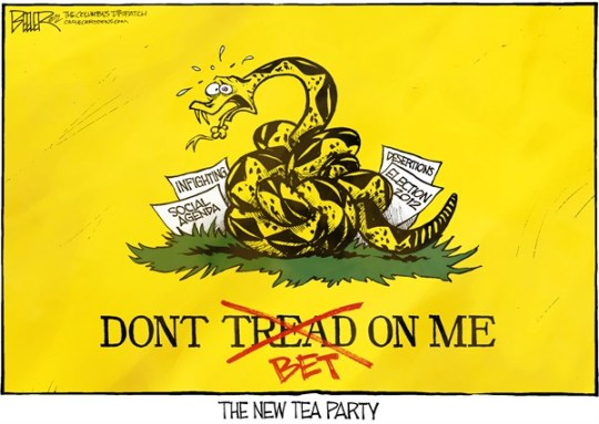 Nate Beeler - The Columbus Dispatch - Tea Party Flag COLOR - English - tea party, conservative, infighting, social, agenda, issues, gadsden, flag, snake, knot, desertions, election, 2012, demint, freedomworks, dick armey, politics, republican, party, dont tread on me