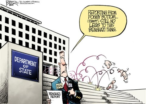 Nate Beeler - The Columbus Dispatch - Benghazi Report COLOR - English - benghazi, state department, libya, media, coverage, press, news, reporting, foggy bottom, heads, roll, politics, foreign affairs, attack, terrorist, terrorism, embassy