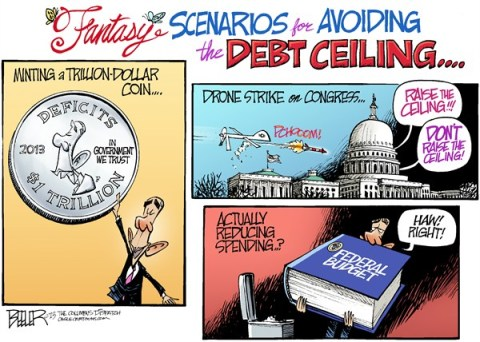 Nate Beeler - The Columbus Dispatch - Debt Ceiling Scenarios COLOR - English - barack obama, politics, trillion, dollar, coin, mint, drone, strike, congress, debt, ceiling, deficits, spending, federal, budget, government, president, scenarios
