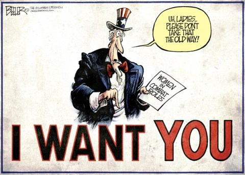 Nate Beeler - The Columbus Dispatch - Combat Women COLOR - English - women, military, uncle sam, i want you, combat, role, female, gender, war, pentagon, soldiers, troops, army, marines, air force, navy, politics, panetta