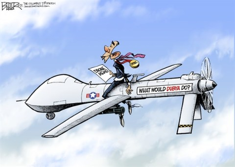 Nate Beeler - The Columbus Dispatch - Obama Drones COLOR - English - barack obama, drone, memo, dubya, bush, assasination, terrorism, war, terror, program, nobel, peace, prize, president, politics, military