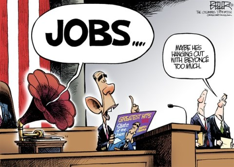 Nate Beeler - The Columbus Dispatch - State of the Union 2013 COLOR - English - barack obama, jobs, economy, state of the union, sotu, beyonce, record, employment, recovery, politics, president, speech