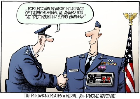 Nate Beeler - The Columbus Dispatch - Drone Medal COLOR - English - pentagon, drone, cyber, war, warfare, medal, thumb, blister, nintendo, gamepad, controller, video, game, distinguised, flying, military, air force