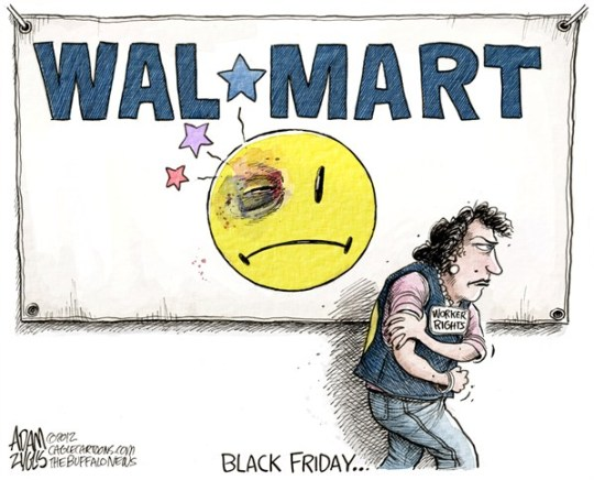 Walmart Black Friday © Adam Zyglis,The Buffalo News,walmart,black friday,thanksgiving,shopping,holiday,retail,retailer,workers,rights,strike,wages,unions,labor,business,black friday 2012, Christmas
