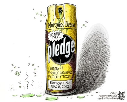 Grover Norquist Pledge © Adam Zyglis,The Buffalo News,grover,norquist,taxes,no,new,revenue,bush,gop,republican,ideology,tea,party,business,budget,signatures,Economy, norquist no tax, pledge