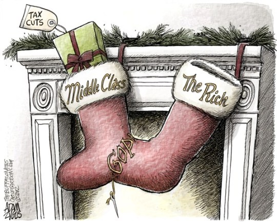Adam Zyglis - The Buffalo News - Tax Cuts COLOR - English - tax cuts, gop, rich, middle class, bush, obama, budget, debt, fiscal cliff, negotiations, christmas, stockings, gifts, politics, washington