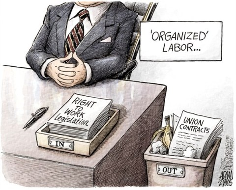 Adam Zyglis - The Buffalo News - Right to Work Legislation COLOR - English - labor, organized, unions, legislation, right to work, contracts, michigan, auto, government, gop, republicans, business, corporations, workers, rights