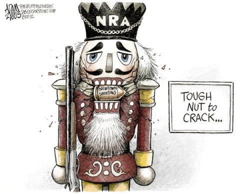 Adam Zyglis - The Buffalo News - NRA Cracking COLOR - English - nra, national rifle association, newtown, shooting, guns, mass, murder, assault, weapons, bullets, magazine, high capacity, nutcracker, gun control