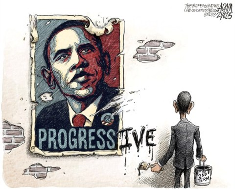 Adam Zyglis - The Buffalo News - Obama Second Term COLOR - English - obama, election, second, term, inauguration, white house, obama, barack, progressive, equality, gay, rights, womens, democrats, liberal, progress