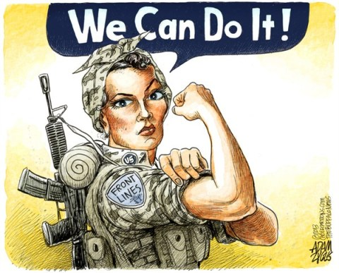 Adam Zyglis - The Buffalo News - Women in the Military COLOR - English - 		women,military,equality,gender,rights,front lines,armed forces,soldier,troops,combat,us,rosie,riveter