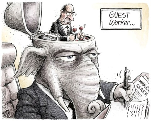 Adam Zyglis - The Buffalo News - GOP Guest Worker COLOR - English - gop, immigration, reform, congress, guest worker, program, compromise, republicans, hispanics, latino, vote, legislation, law
