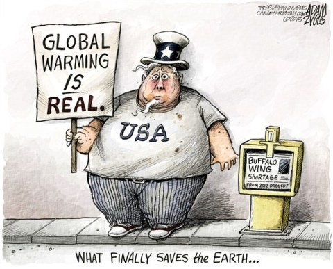 Adam Zyglis - The Buffalo News - Buffalo Wing Shortage COLOR - English - global warming, chicken wings, buffalo, buffalo wings, climate change, obesity, america, food, fat, environment, earth