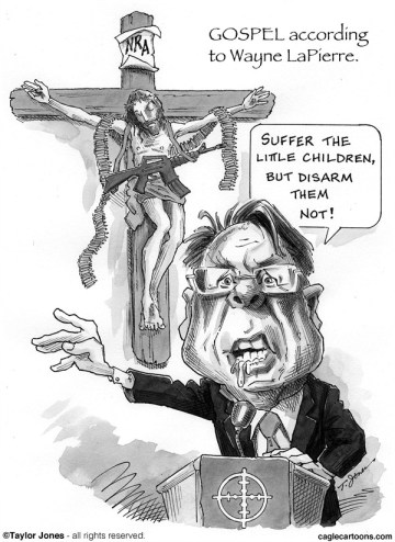 Taylor Jones - Politicalcartoons.com - Gospel according to Wayne LaPierre - English - wayne,LaPierre,NRA,national,rifle,association,guns,gun violence,semi-automatic,weapons,mass murder,gun control,second amendment,ammo