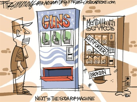 David Fitzsimmons - The Arizona Star - next to the diet coke - English - guns, newtown, soda machine, pop, diet coke, guns, mental illness, mass shooters, killers, newtown