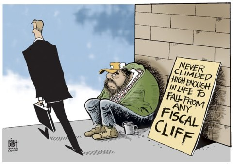 Randy Bish - Pittsburgh Tribune-Review - TOO LOW FOR A FISCAL CLIFF, COLOR - English - FISCAL CLIFF, ECONOMY, POOR, HOMELESS, UNEMPLOYED