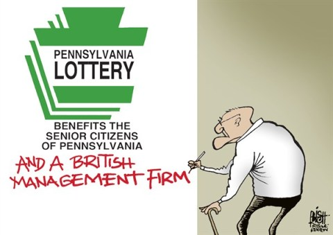 Randy Bish - Pittsburgh Tribune-Review - LOCAL, PA- LOTTERY, COLOR - English - PENNSYLVANIA, LOTTERY, BRITISH, CAMELOT, GOVERNOR CORBETT