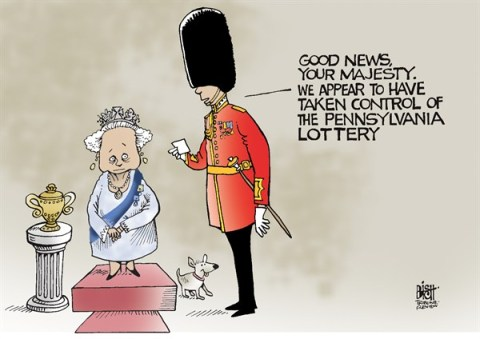 Randy Bish - Pittsburgh Tribune-Review - LOCAL- PA, LOTTERY GOES TO BRITAIN, COLOR - English - BRITISH, ENGLAND, PENNSYLVANIA, LOTTERY, CORBETT