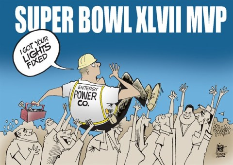 Randy Bish - Pittsburgh Tribune-Review - SUPER BOWL MVP 2013, COLOR - English - SUPER BOWL, MVP, POWER OUTAGE, NFL, FOOTBALL, NEW ORLEANS, POWER, 2013