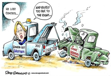 Dave Granlund - Politicalcartoons.com - Senator-elect Warren - English - Massachusetts, Senate, senator, scott brown , wins, winner, elected senator, 2012, truck, pickup, pick-up; Elizabeth Warren;MA, woman, women, female, gender, outcome; voters