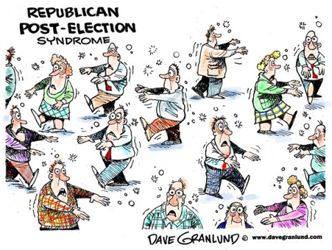 Dave Granlund - Politicalcartoons.com - GOP post-election - English - 		gop,republicans,Obama wins,romney loses,loss,lost election,2012,mitt loss,voters,shell-shocked,zombies,party loss,after election,shocked