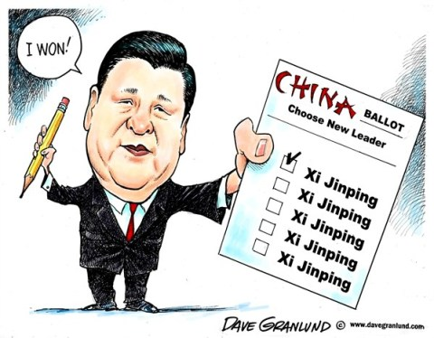 Dave Granlund - Politicalcartoons.com - Chinese leader Xi Jinping - English - New leader, elected leader, Chinese, China, Mainland China, Peoples republic of China, Communist, communism, lCommunist party leader