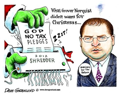 Norquist and GOP pledges © Dave Granlund,Politicalcartoons.com,grover norquist,tax pledges,no tax pledges,lobbyist,tax reform,republicans,signed pledges,house,senate,politicians,power,grip,norquist no tax