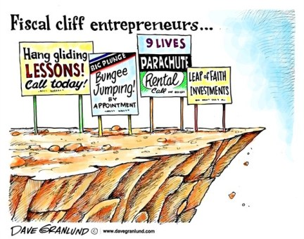 Dave Granlund - Politicalcartoons.com - Fiscal cliff entrepreneurs - English - Fiscal cliff, bungee, bungee jumping, hang gliding, parachute, leap, 9 lives, nine lives, budget, taxes, bush tax cuts, deadline