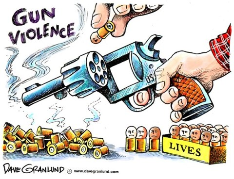 Dave Granlund - Politicalcartoons.com - Guns and victims - English - shootings, killings, bullets, murder