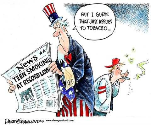 Dave Granlund - Politicalcartoons.com - Teen smoking at record low - English - teens,teen,cigarettes,tobacco,pot,marijuana,smoke,percent drop,down,lowest,mayan calendar, mayan calendar 2012