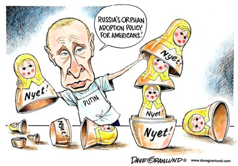 Dave Granlund - Politicalcartoons.com - Russia bans US adoptions - English - Russian ban, adoptions, Russian orphan, children, kids, Putin, ban, American, orphans