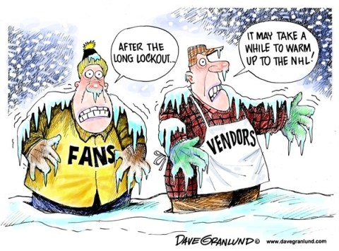 Dave Granlund - Politicalcartoons.com - NHL lockout ends - English - Hockey, National Hockey league, players union, NHL, ice, vendors, fans, owners, greed, pro hockey