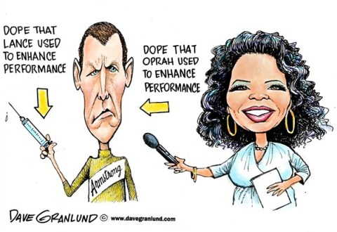 Dave Granlund - Politicalcartoons.com - Lance Armstrong and Oprah - English - Confession, confesses, confess, doping, dope, performance enhancing, drugs, steroids, tour de france, lance, lies, untruthful, injections, pills, liar, cheater, cheating,