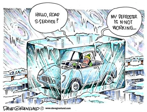 Dave Granlund - Politicalcartoons.com - Frigid temperatures - English - Arctic air, polar air, sub zero, weather, extreme cold, ice, snow, dead batteries, frozen pipes, frozen battery, road service, drivers, frostbite, freezing, chill