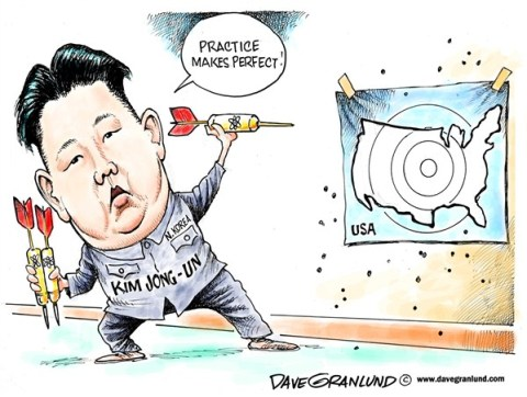 Dave Granlund - Politicalcartoons.com - North Korea threatens US - English - North Korea, N Korea, Missile test, nuclear, nuke, missile launch, kim jong un, leader, USA, United States, threat, sabre rattling, long range missile