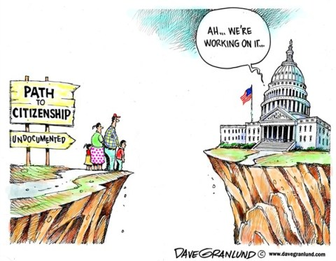 Dave Granlund - Politicalcartoons.com - Path to citizenship - English - Illegal aliens, undocumented, immigration reform, bipartisan, plan, proposal, president, congress, path to citizenship, legal, dream act