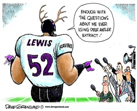 Dave Granlund - Politicalcartoons.com - Ray Lewis and antler extract - English - Ravens, NFL, Super Bowl, football, deer antler spray, deer antler extract, Baltimore, Ray, Lewis