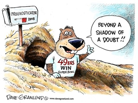 Dave Granlund - Politicalcartoons.com - Super Bowl prognosticator - English - Super Bowl, Ravens, 49ers, california, baltimore, Maryland, prediction, predict, champions, champs, championship