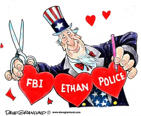 Dave Granlund - Politicalcartoons.com - Ethan rescued - English - Abduction, Bunker, Boy, Alabama, 5 year old, rescue, FBI, Police, saved, Ethan, hearts, valentine, uncle sam