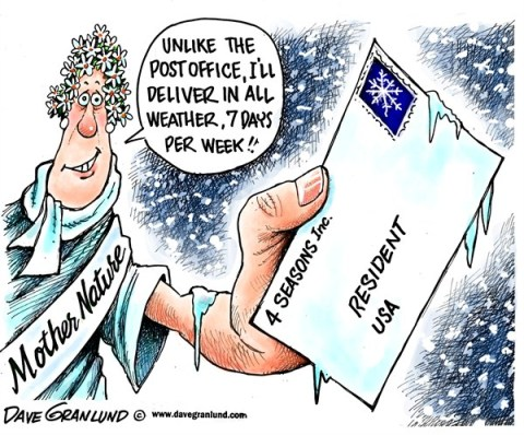 Dave Granlund - Politicalcartoons.com - Weather deliveries USA - English - Weather,Storms,weekend delivery,Saturdays,post office,USPS,Mother nature,snow,blizzard, winter 2012,Post Office