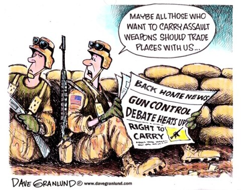 Dave Granlund - Politicalcartoons.com - Assault weapons - English - Assault weapons, nra, national rifle association, gun lobby, clips, large clips, gun owners, rifile, bullets, ammo, M-15
